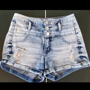 Highwaisted Distressed Jean Shorts